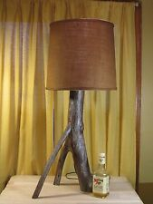 Vtg 1950s hard wood rustic table lamp Cabin Decor w burlap shade /silver lines