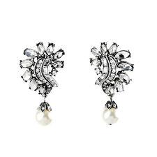 Boucles d`Oreilles Clips Pendant Argenté Art Deco Perle Blanc Vintage Mariage J2