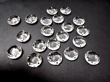 40pcs 18mm Faceted Flat Round LINK Acrylic Drop Beads - CLEAR Linking ( 2 hole )