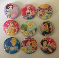 Lot of 9 Disney Princess Badges - 3cms diameter - for loot bags party favours