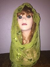 Green Long Scarf Hijab Wrap Sheer pretty and fashionable Last Ones