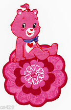 """4.5"""" PRETTY CARE BEARS ON A FLOWER FABRIC APPLIQUE IRON ON"""