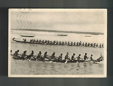 1946 Cameroun RPPC Postcard cover tp France Natives in Canoes