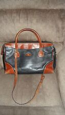 Vtg Bally Black Brown Leather Satchel Attache Bag  With Shoulder Strap Handles