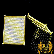 New Men's XL Flat Screen White on Yellow Gold EP Diamond Simulated Stud Earrings