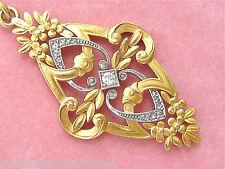 ANTIQUE ART NOUVEAU .20ctw MINE & ROSE DIAMOND 18K GOLD PENDANT c1900