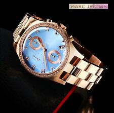 MARC BY JACOBS WOMEN'S SKY BLUE ROSE GOLD CRYSTALS WATCH MBM3299