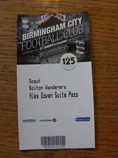05/10/2013 Ticket: Birmingham City v Bolton Wanderers [Scout Ticket/Pass].  Any