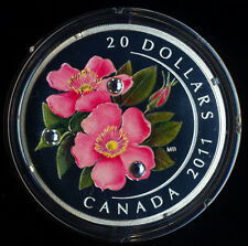 Canada 2011 Wild Rose Swarovski Crystals $20 Pure Silver Proof Coin Perfect