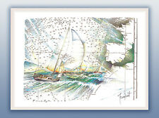 aquarelles watercolor boat marine tableau décoration collection barco seascape