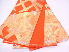 Vintage Japanese Orange/Gold Silk Fukuro-Obi 'Bamboo Fences' for Kimono/Textiles