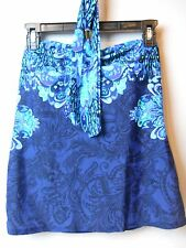 Lauren Ralph Lauren High Neck Scarf Print Tankini Swimsuit Top Blue Size 14