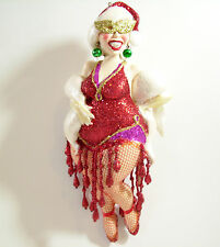 Vintge Rubenesque SHOWGIRL Christmas Ornament RISQUE Naughty Glitter Flash Kitch