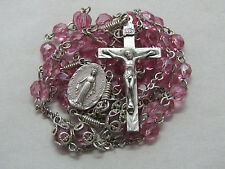 """† HTF VINTAGE WIRED WRAPPED STERLING PINK GLASS ROSARY WEARABLE 33"""" ROUND NECK †"""
