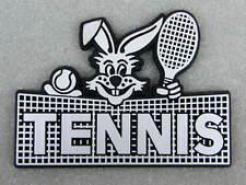 3D Aufkleber Tennis Hase silber schwarz Kaninchen Klebeschild
