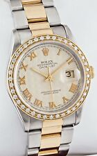 Rolex Datejust 16203 Ivory Pyramid Dial Diamond Bezel 18K/SS 36mm