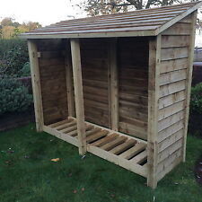 Heavy Duty 6ft tall Double Bay Log store / Garden Storage