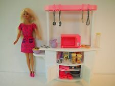 1998 Barbie Doll with New Kitchen Island, Accessories
