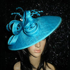 FAILSWORTH TURQUOISE BLUE WEDDING ASCOT HAT DISC FASCINATOR MOTHER OF THE BRIDE