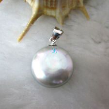 12-13mm Silver Gray Coin Freshwater Pearl Pendant P1s UE