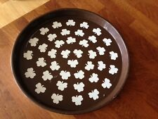 Vintage Brown Painted Metal Round Serving Tray – Clover / Shamrock Design –
