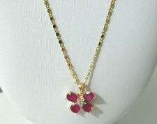 "Yellow Gold Necklace Women Girl Simulated Ruby Butterfly Pendant 26"" 9k"