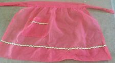 1960s Apron Half Christmas Sheer Red Gold Trim Kitchen Linens Textiles Vintage