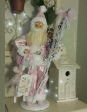 PINK SANTA CLAUS FIGURE Shabby Chic REDRESSED Hanp Painted Roses on Sled SATIN