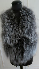 Real Fur Silver fox jacket Vest, Gilet, Bodywarmer waistcoat sz L UK14 EU42US12