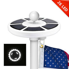 Solar Powered Flag Pole Light 26 LED Top Automatic All-Weather Outdoor Lamp