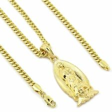 """Men's 14k Gold Plated Small Virgin Mary Pendant Hip-Hop 30"""" 3mm Cuban Chain"""