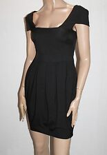 ASOS Designer Black Fitted Pleated Day Dress Size 6-XXS BNWT #ST107