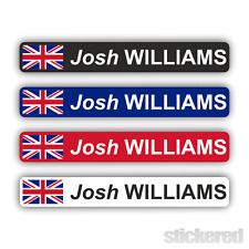 6 x PERSONALISED UK FLAG BIKE BICYCLE NAME STICKERS CYCLE MOUNTAIN BMX RACING