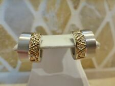 Designer B 18k yellow white two gold diamond wide hoop earrings 10.9g modernist
