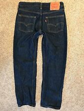 Levis 501 Classic Straight Fit Button Fly Dark Blue Jeans 31x30 Short (30x27)