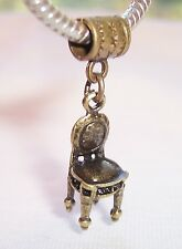 Vanity Chair Furniture Bronze Jewelry Dangle Bead for European Charm Bracelets