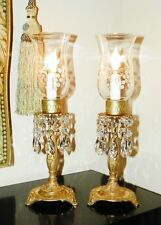 """Pr Vtg """"Brass & Crystal"""" Mantle/Foyer Hurricane Lamps w/Etched Shades~Spain!"""