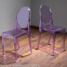 (Set of 2) Modern Inspired Design Transparent Purple PC Side Accent Chairs