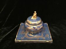 """antique Wedgwood fairyland luster celestial dragon inkwell liner lid 6"""" wide"""