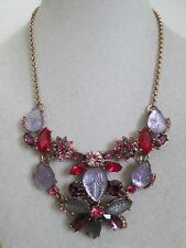 NWT Auth Betsey Johnson Fall Follies Purple Pink Flower Charm Station Necklace