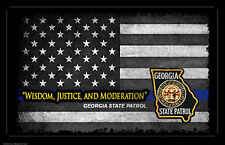 Georgia State Patrol Thin Blue Line Flag Two 11x17 Posters