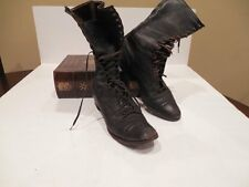 Ladies Antique Leather High Top Lace Up STEAMPUNK Boots Wingtip EDWARDIAN