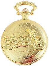 Taschenuhr Weiß Gold Motorrad Bike Analog Quarz Herrenuhr D-50742408749350
