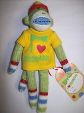 """I Love Monkeys!"" 8"" Sock Monkey Style Stuffed Plush with Magnets in the Hands"