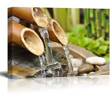 Bamboo Waterfall on a Japanese Garden - Canvas Art Home Decor - 16x24 inches