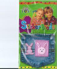 lot de 2 ecussons thermocollants lapins roses NEUFS pour vetements