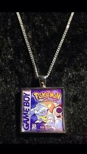 Retro Gaming Necklace And Keyring Gameboy Cover Pokemon Blue Blastoise