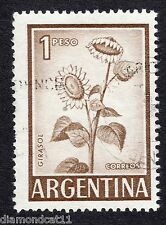 1959 Argentina 1 Peso Sunflowers SG 1016 FINE Used R15805