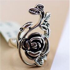 Glittering Goth Style Black&Silver Tones Rose Flower Ring Exquisite 8#