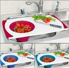 Over the sink cutting board with collapsible silicone strainer - in red